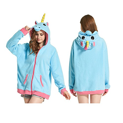 AIIGOU Adult Cute Blue Unicorn Hoodie Sweatshirts Tops Pullover Animal Kigurumi