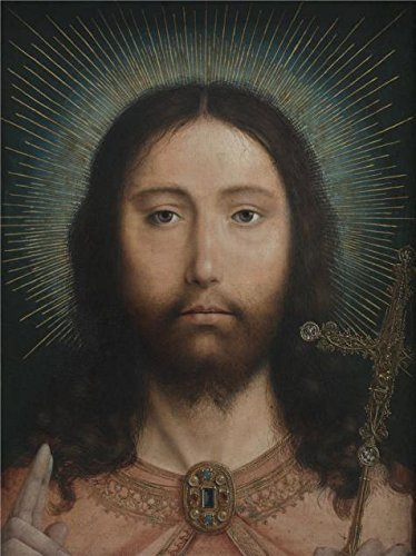 Oil Painting 'Quinten Massijs,Christ Salvator Mundi,1466-1529' 10 x 13 inch / 25 x 34 cm , on High Definition HD canvas prints is for Gifts And Basement, Bed Room And Powder Room Decoration