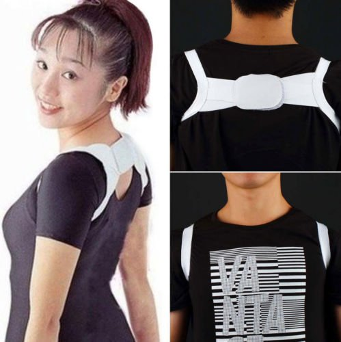 Adjustable Therapy Back Support Brace Belt Band Posture Shoulder Corrector GP kafewkub