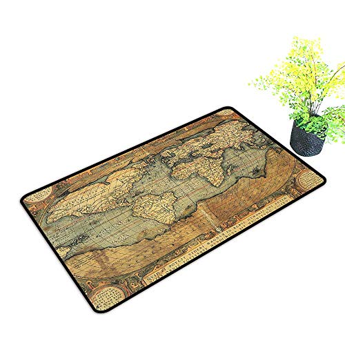 gmnalahome Front Door Mat for Indoor Outdoor Entry Rug 16Th Century The World History Boundari ography Civilizati Keep Your House Clean W39 x H15 INCH