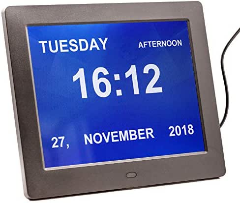 (Newest Version)Large Digital Clock with Alarm, Calendar, Day for Dementia Seniors& Elderly, Large Numbers Clock Used in Kitchen, Beside(Black)
