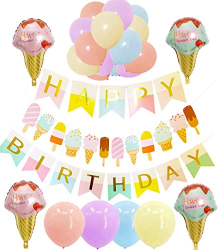 Ice Cream Themed Birthday Party (Ice Cream Party Supplies and Decorations for Kids Girls and Boys: 1 Happy Birthday Banner,1 Garland, 4 Foil Balloons, 16 Colorful)