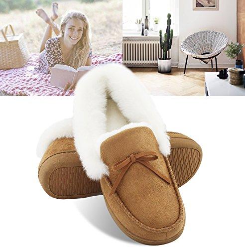 Homeideas Dames Namaakbont Gevoerd Suede Huis Slippers, Ademend Indoor Outdoor Moccasins Bruin