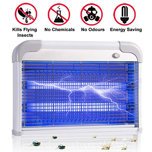 CHARAVECTOR Electric Bug Zapper Insect Killer Mosquito,Bug, Moth,Fly or Any Pest Killer Zapper,Powerful 2800V Grid 20W Energy Saving,Ultraviolet Light Bulb Protection for Indoor Use -
