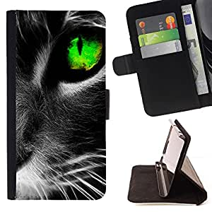 Cute Black Cat Whiskers Eye - Modelo colorido cuero de la carpeta del tirón del caso cubierta piel Holster Funda protecció Para Apple (4.7 inches!!!) iPhone 6 / 6S