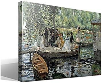 cuadrosfamosos.es Canvas Lienzo Bastidor La Grenouillère de Oscar-Claude Monet - 45 cm x 55 cm - Fabricado en España: Amazon.es: Hogar