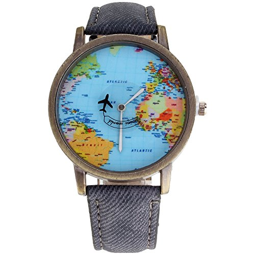 - HuntGold Men Fashion Mini World Map Round Dial Plane Electronic Wristwatch Denim Leather Band Watch - Grey