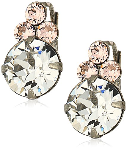 Sorrelli Womens Snow Bunny Dainty Circular Crystal Drop Earrings, Clear/Pink, 0.5