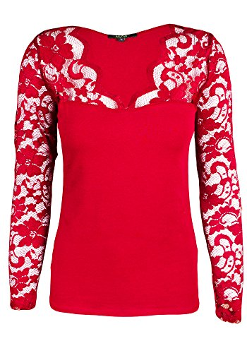 Sidecca Lace Sweetheart Neck Scalloped Knit Long Sleeve Top (Medium, Red)