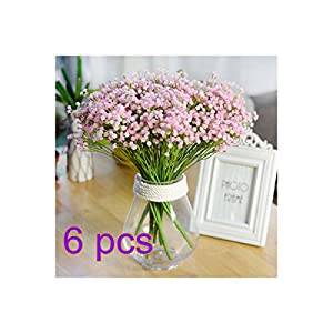 UHBGT 7 Fork Artificial Flowers Baby's Breath Flower Bouquet Decorative for Wedding Home Decorations (6pcs) 118