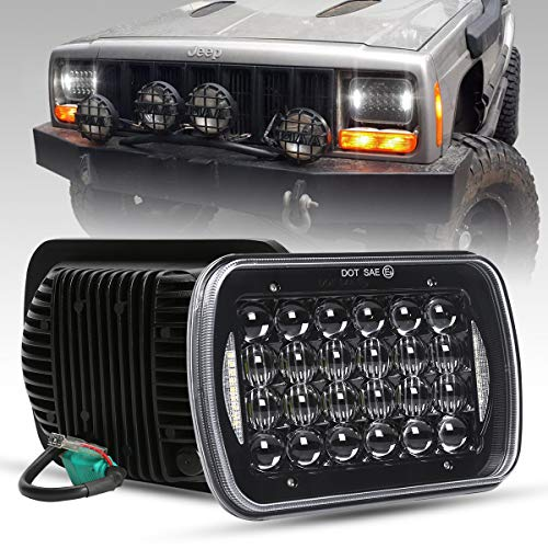 COWONE Newest Cree 7x6 5x7 inch Black 5D Projector LED Headlights for Jeep Wrangler YJ Cherokee XJ H6054 H5054 H6054LL 69822 6052 6053 2Pcs