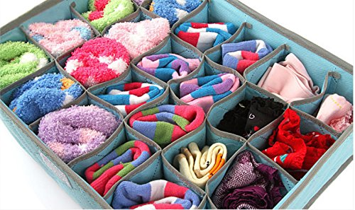 (L) New Fashion Underwear Socks Ties Bra Divider Organizer Lidded Closet Wardrobe Storage Box