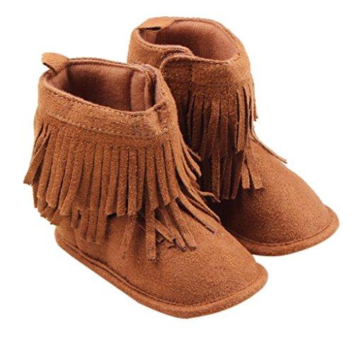 Creazy®Toddler Infant Newborn Baby Girl Shoes Soft Sole Boots Prewalker Tassel (13)