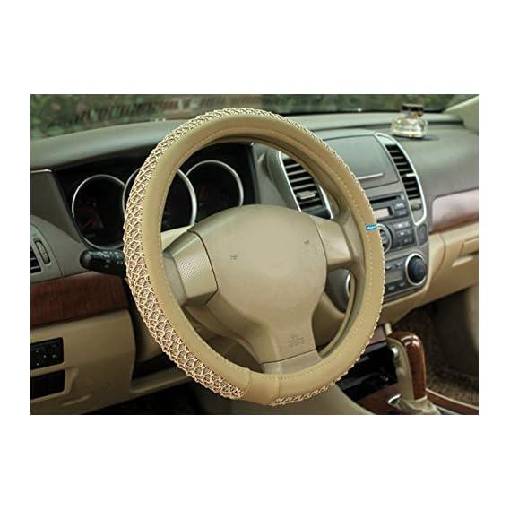 NIKAVI Car Steering Wheel Cover, Microfiber, Emboss Holes, Soft Padding Great Hand Feel, Anti-slip Matte Finish, 15 Inch