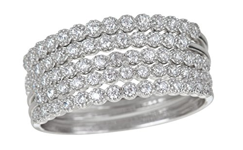 Decadence Sterling Silver Bezel Set 5 Cubic Zirconia Ring Stack