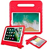 Fintie Case for Apple iPad 9.7 Inch 2018 (6th Gen) / iPad 9.7' 2017 (5th Gen) / iPad Air 2 / iPad Air - Kiddie Series Light Weight Shock Proof Convertible Handle Stand Cover Kids Friendly - Red