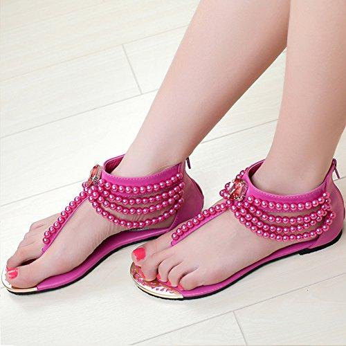 Fermeture Avec Herringbone Femme Chaussure Sandale À Perle Voyage Glissière Bohême Pink Plate r0qwwB568