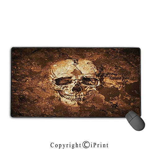 Mouse pad with Lock,Skull,Graphic of an Human Skull on The Soil Dead Mans Look Horror Scary Theme Print,Chocolate Beige,Suitable for laptops, Computers, PCs, Keyboards,15.8