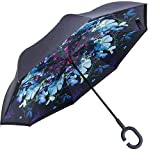 WASING Inverted Umbrella Double Layer Windproof Reverse Umbrella for Car and Outdoor Use (Flower demon)