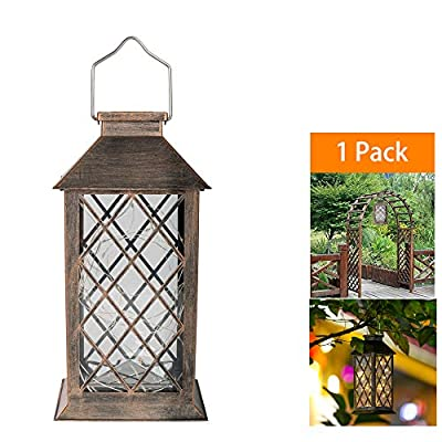 Ricky star Solar Hanging Lights?Solar Lantern Lights Metal Sunwind with 30 Warm White LEDs Fairy String Lights for Lawn Patio Walkway Garden Outdoor Decorative Tabletop Lanterns.