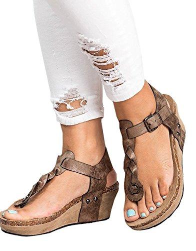 Minetom Femme Sandales Hauts Talon Compensé Clip Toe Boucle Tongs Bout Ouvert Mode Été Pente Sandales Mocassins Chaussures Marron K0MKEnSsw7