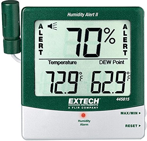 Extech 445815 Hygro-Thermometer Humidity Alert with Dew Point; Large, Easy-to-read Triple LCD Displays % Relative Humidity, Temperature and Dew Point; Probe Clips Onto Meter or Extends on 18