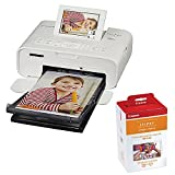 Canon SELPHY CP1300 Compact Photo Printer (White) with RP-108 Ink/Paper Set Bundle