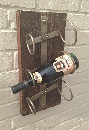Weinregal, Wandbefestigung, für 3 Weinflaschen, Treibholz, Stein ...