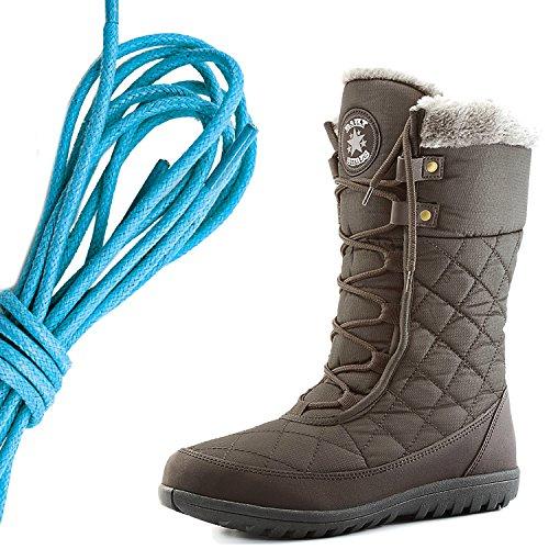 Dailyshoes Comfort Da Donna Punta Rotonda Stivaletto Alla Caviglia Medio Alto Alla Caviglia Eskimo Invernale, Blu Marrone