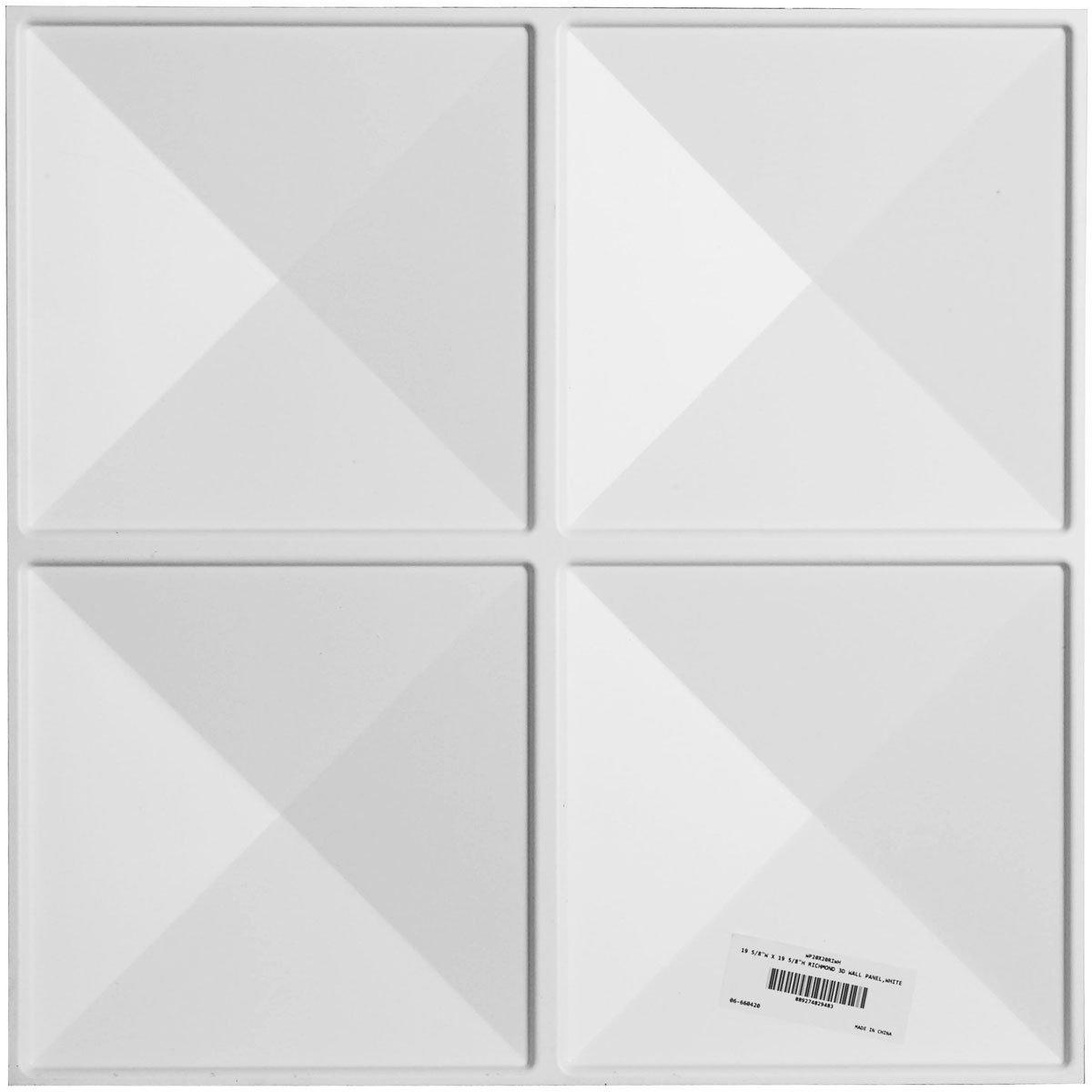 Ekena Millwork WP20X20RIWH-CASE-50 Richmond Design Pack of 50 Tiles 133 Sq Ft Decorative 3D Wall Panels White