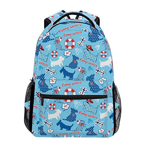 (Funny Scottish Terrier Dogs With Tag Blue Student Backpack, Large Laptop Backpack, Unisex Classic College Bookbag, Lightweight Travel Back Bag, School Bookbag, Casual Daypack Bag for Weekend Outdoor)