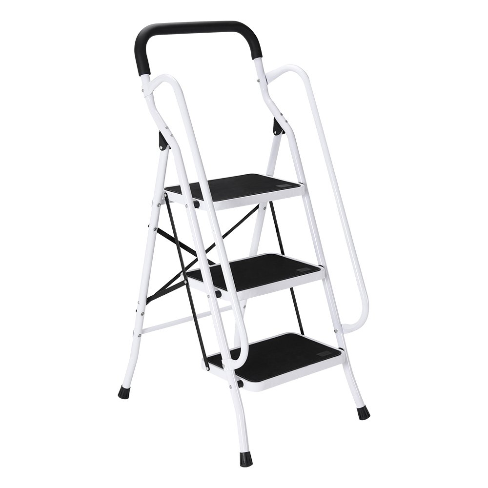 3 Step Ladder With Safety Handrail Anti-Slip Rubber Mat Tread Steel Folding Iron Frame DIY (XE-T) furniture-uk-shop