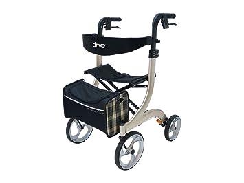 Drive Medical Nitro - Andador con asiento y ruedas, tamaño L, color beige