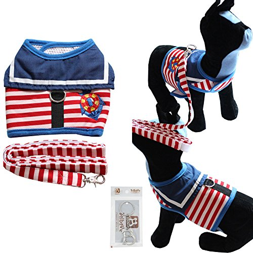 Bolbove Pet Sailor Stripes Vest Mesh Harness and Leash Set for Cats & Small Dogs (Medium, Red)