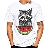 Novelty T Shirt, ZYooh Men Boy Fashion Short Sleeve Little Wolf Round Neck T-Shirt Tee Top (L, Wolf)