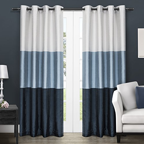Exclusive Home Chateau Striped Faux Silk Window Curtain Panel Pair with Grommet Top 54x96 Indigo 2 Piece (Long Panels Drapery Tab Top)