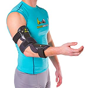BraceAbility Cubital Tunnel Syndrome Elbow Brace | Splint to Treat Pain from Ulnar Nerve Entrapment, Hyperextended Elbow Prevention and Post Surgery Arm Immobilizer - S (SMALL / MEDIUM)