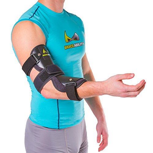 BraceAbility Cubital Tunnel Syndrome Elbow Brace | Splint to Treat Pain from Ulnar Nerve Entrapment, Hyperextended Elbow Prevention and Post Surgery Arm Immobilizer - M (MEDIUM / LARGE)