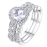 Newshe Jewellery Engagement Sets Wedding Rings For Women 925 Sterling Silver 3pcs White Cz Size 8
