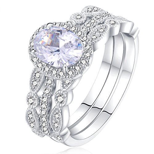 Newshe Jewellery 3pcs White CZ 925 Sterling Silver Wedding Ring Set Engagement Ring Sets Size 7 (Sterling Silver Wedding Rings Cz)