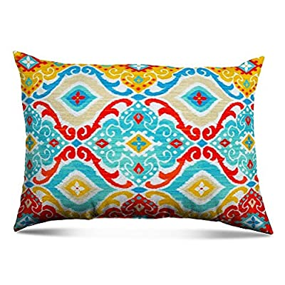 """Stratford Home Eco Friendly Outdoor Decorative 12""""x20"""" Lumbar Toss Pillow, Set of 2 (Fresca Fiesta) Made in America - Made In America Eco Friendly Plush Fill: 100% recycled polyester fiber. Patterns are random cut, no two are identical Stain, water, and mildew resistant. Withstands 500 hours of sunlight exposure . To maintain fabric life bring indoors when not in use. General care: brush off loose dirt and gently hosen down. For tougher stains, spot clean with warm water and mild detergent. Allow to air dry. - patio, outdoor-throw-pillows, outdoor-decor - 51rezYwUrVL. SS400  -"""