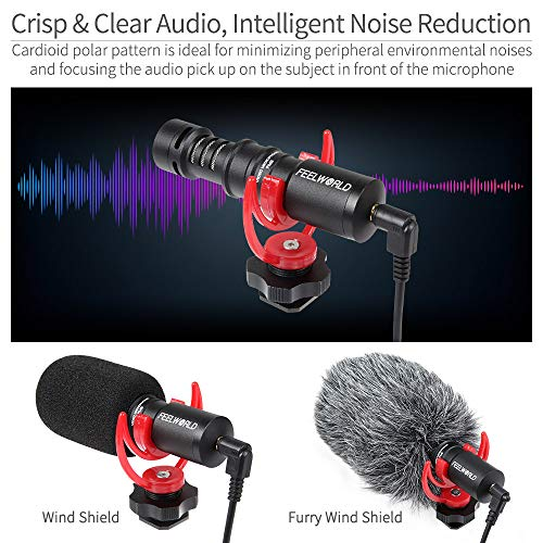FEELWORLD FM8 Universal Compact Shotgun Video Microphone with Shock Mount, Wind Shield and 3.5mm Conversion Cable for Audio Recording Smartphones DSLR Camera Filmmaking Vlogging Music Live Streaming