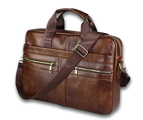 Genuine Leather Messenger Bag for Men - Padded 14 Inch Laptop Briefcase