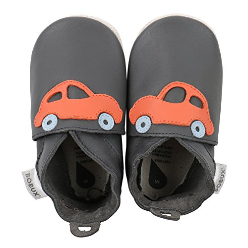 Soft Soles Race Car - Bobux Boys Baby Shoes - Premium Leather Soft Sole Shoes For Infants and Toddlers M (9-15 MO) Grey/Orange
