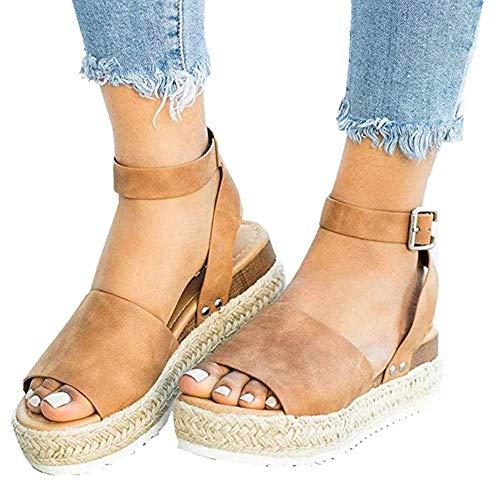 Ymost Womens Wedges Sandal Open Toe Ankle Strap Trendy Espadrille Platform Sandals Flats (8 B(M) US-EU Size 39, Tan)