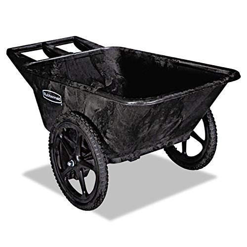 Rubbermaid 5642BLA Big Wheel Agriculture Cart, 300-lb Cap, 32-3 4 x 58 x 28-1 4, Black