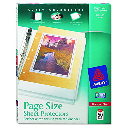 Avery Diamond Clear Page Size Sheet Protectors, Acid Free, Box of 50 (74203) (Avery Page Protectors)