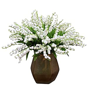 Calcifer 10 Pcs Lily of The Valley Artificial Flowers Wind Chime Orchid Wedding Holding Flowers Bouquet Home Garden Wedding Party Office Decoration 113