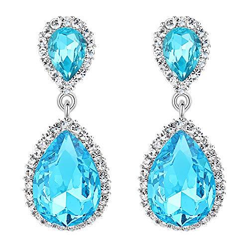 EVER FAITH Women's Austrian Crystal Wedding Tear Drop Dangle Earrings Sea Blue Silver-Tone ()
