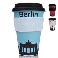 PRIME ART WOOD Bambus Coffee-to-Go Becher (inkl. optimalem Hitzeschutz) Kaffee-Becher, Trink-Becher | Umweltfreundlich, Spülmaschinenfest, Lebensmittelecht, 450ml (Designs: Paris, Berlin, New York)